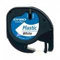Banda Dymo Letratag DY91201 12mm, plastic alb