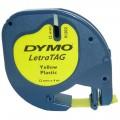 Banda Dymo Letratag DY91202 12mm, plastic galben