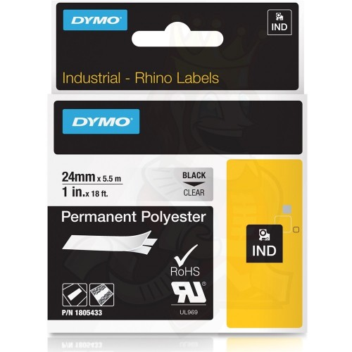 Banda poliester Dymo DY1805433 24mm Negru/Transparent