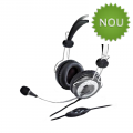 Casti cu microfon Genius HS-04SU, full size, negre/argintii