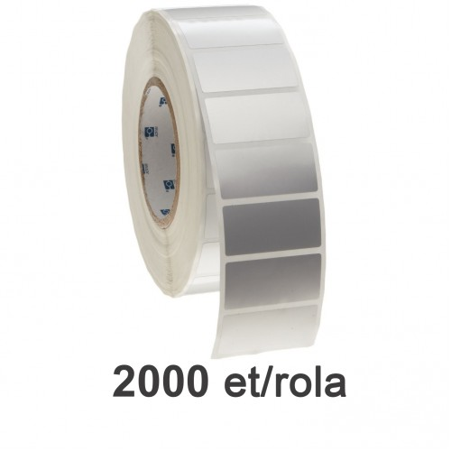 Role de etichete plastic argintii 42x21mm 2000 et./rola