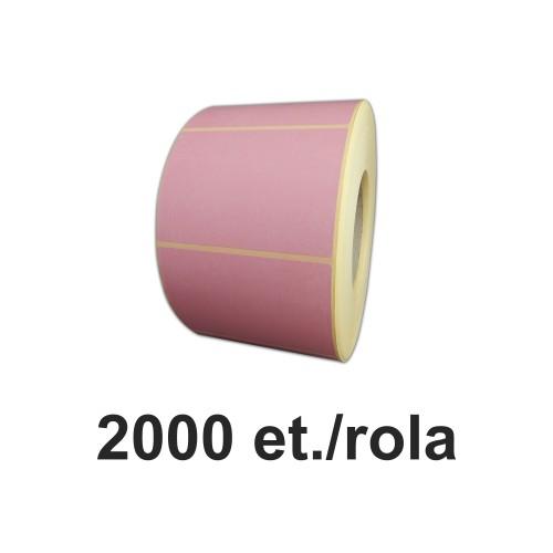 Role de etichete semilucioase roz 100x100mm 2000 et./rola