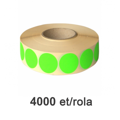 Role de etichete semilucioase rotunde verzi fluo 35mm 4000 et./rola