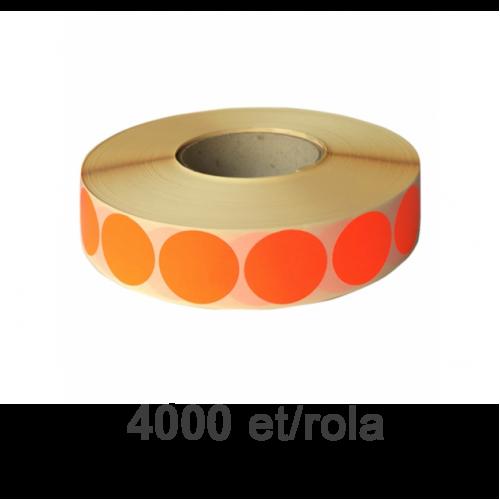 Role de etichete semilucioase rotunde rosii fluo 35mm 4000 et./rola