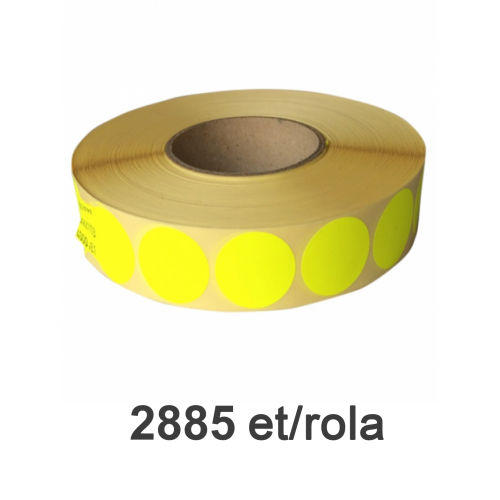 Role de etichete semilucioase rotunde galbene fluo 49mm 2885 et./rola