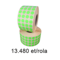 Role de etichete semilucioase rotunde, verzi fluo, 10mm, 13.480 et./rola